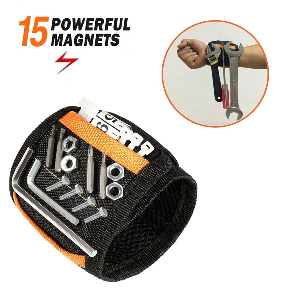 Magnetic Wristband - JIANYI 15 Strong Magnets for Holding Screws, Nails, Bolts, Drill Bits - Best Unique Tool Gift for Men, DIY Handyman, Father/Dad, Husband, Boyfriend, Him, Women (Black)