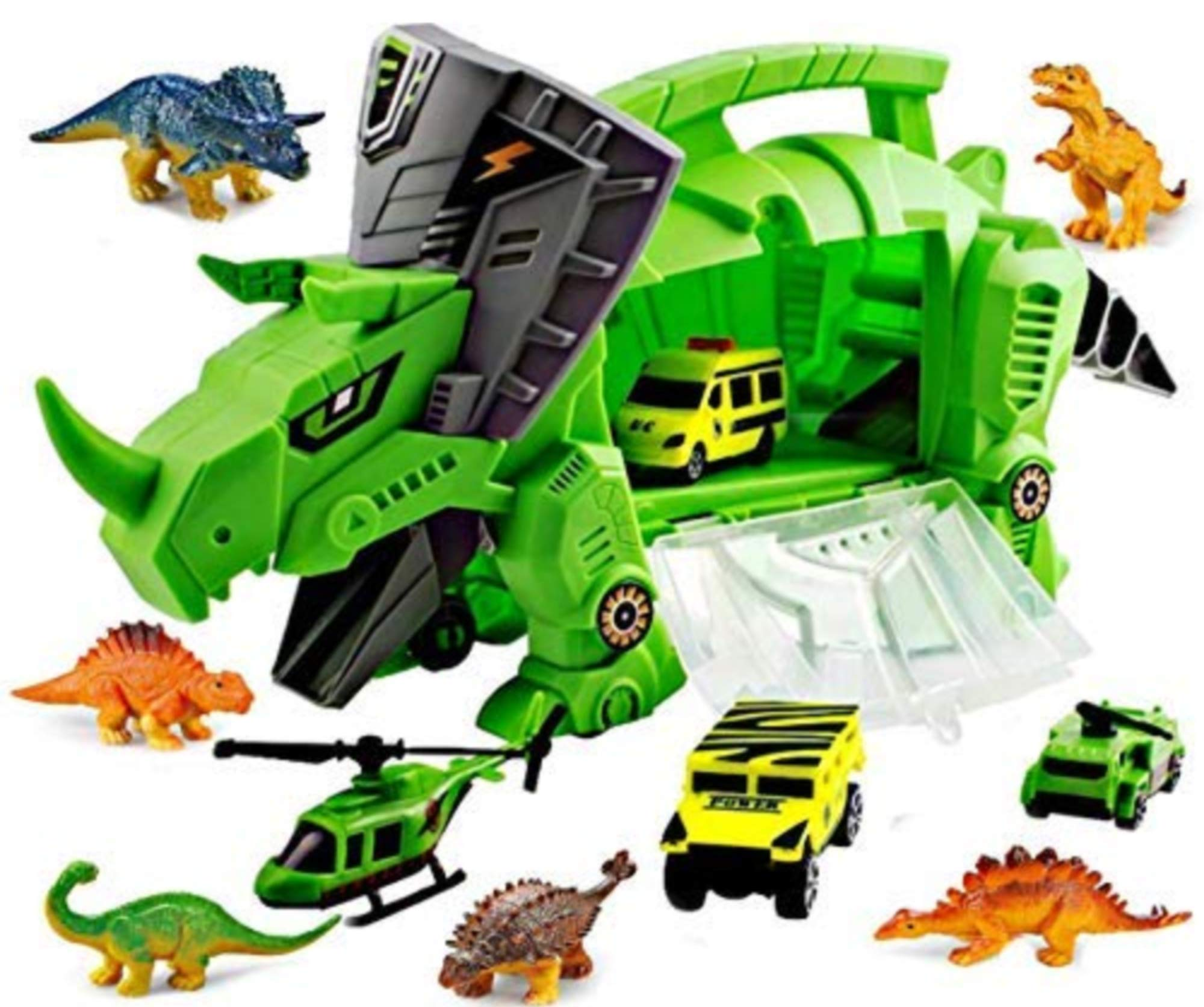 Think N Thrill Dinosaur Toys Storage Carrier for Kids Includes 6 Mini Dinosaurs 3 Toy Cars & Helicopter - #1 Best Fun Playset for Boys & Girls - Great for Children Ages 3+ Years Old (New)
