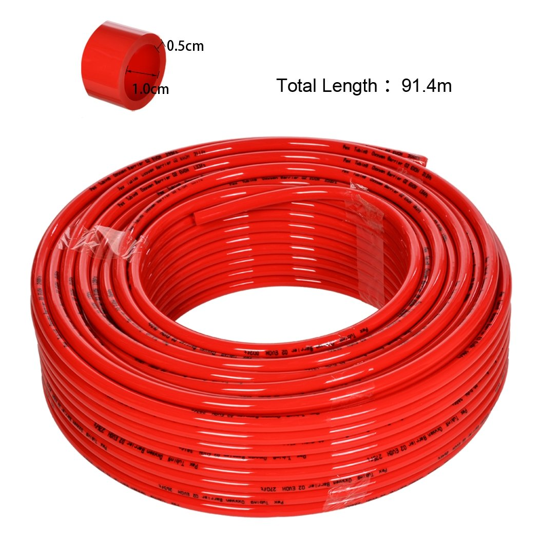 Wakrays 1/2'' x 300ft PEX Tubing Oxygen Barrier EVOH Red Radiant Floor Heating USA
