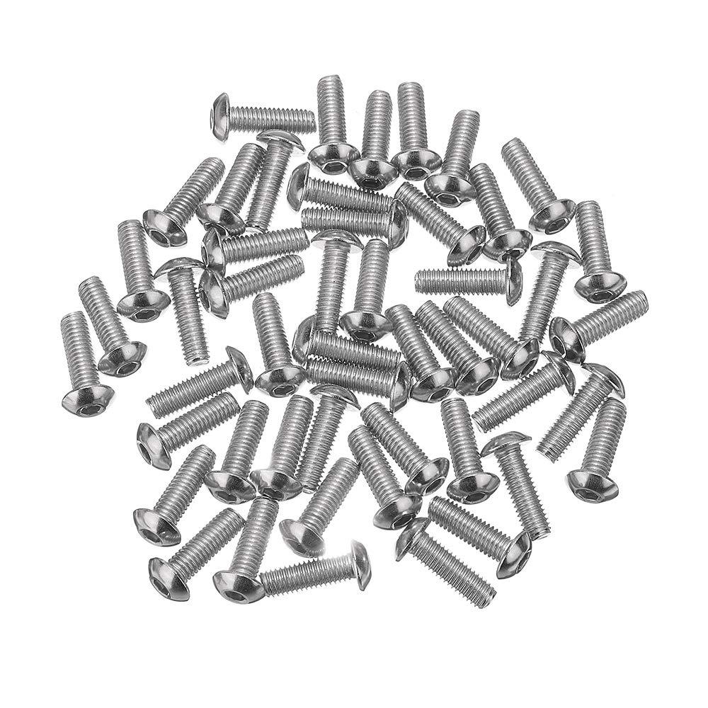 KUNSE M5SH6 50pcs M5 en Acier Inoxydable /à T/ête Hexagonale /à Six Pans Creux avec Vis /à T/ête 8-40mm Longueur en Option-6mm