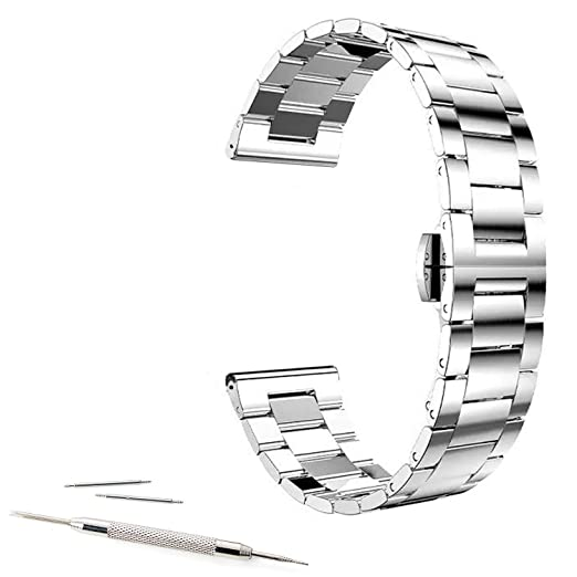 Amazon Com 22mm Stainless Steel Link Buckle Watch Band For Asus