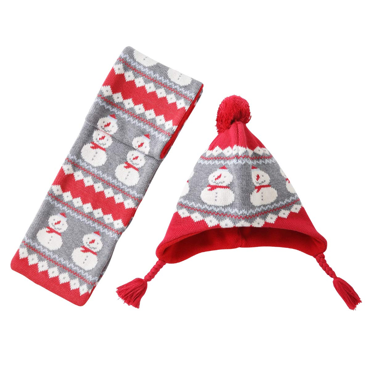 LAPLBEKE Kid Hats Warm Winter Fall Pom Pom Beanie Knitted Toddler Cap Baby Snowman Scarf Hat Sets