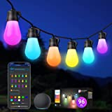 Govee Outdoor String Lights, RGBWW 96ft(2 Pack 48ft) Smart LED Bulbs Wi-Fi and Bluetooth Control, Patio Lights Work with Alex