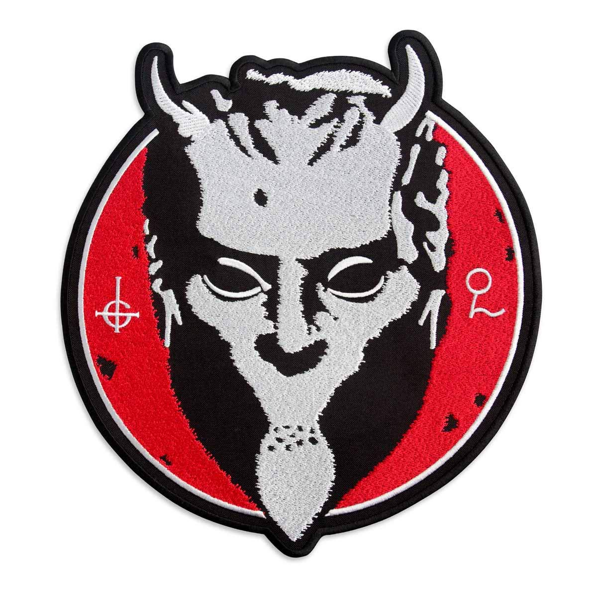 Ghost BC Nameless Ghouls Mask on a Red Background Heavy Metal Doom Hard Rock Band Embroidered Patch Iron On (13.4'' x 14.6'') by Embrosoft