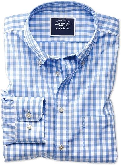 Charles Tyrwhitt Camisa sin Plancha Azul Celeste de Popelina y Corte clásico a Cuadros Vichy con Cuello con Botones: Amazon.es: Ropa y accesorios