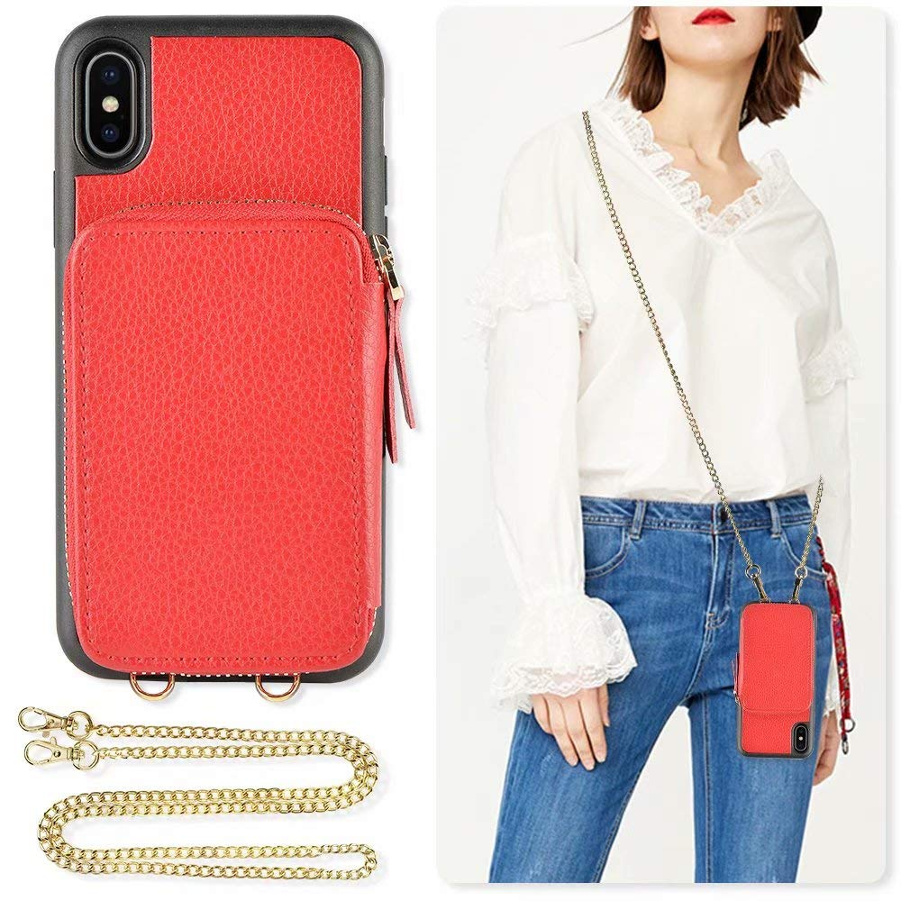 iPhone Xs and X Wallet case, ZVE iPhone X Zipper Leather Case with Credit Card Holder Slot Crossbody Chain Handbag Purse Shockproof Protective Case Cover for Apple iPhone Xs and X, 5.8 inch - Red by ZVE