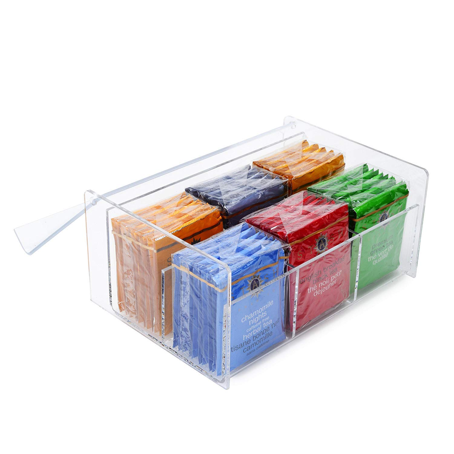 Home-it Acrylic 6 Compact Tea Bag Box orgenizer (Clear) by Home-it