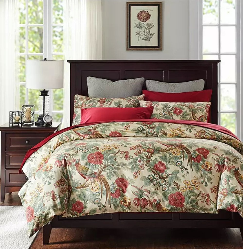 Chinoiserie Chic Peacock Floral Duvet Cover Paradise Garden Botanical Bird and Tree Branches Vintage Stylized Long Staple Cotton Bedding Set King, Autumn Red