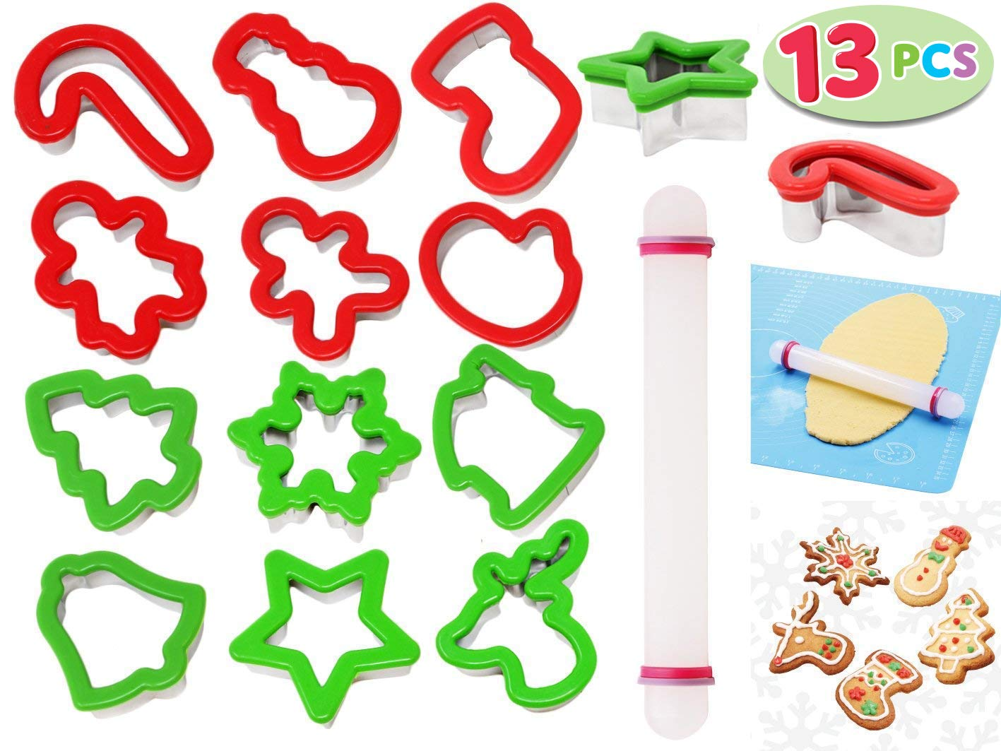 13 Pieces Stainless Steel Christmas Cookie Cutters with Comfort Grip