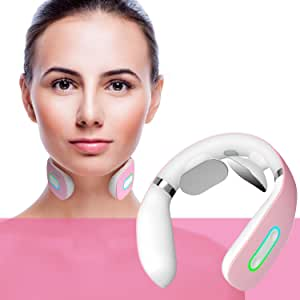 Neck Massager, Electric Smart Neck Massage with Heat, 5 Modes 16 Levels Portable Cordless Massage for Neck Pain Relief at Home Office Outdoor Travel Car Airplane, Women Men Mom Father (Pink) …