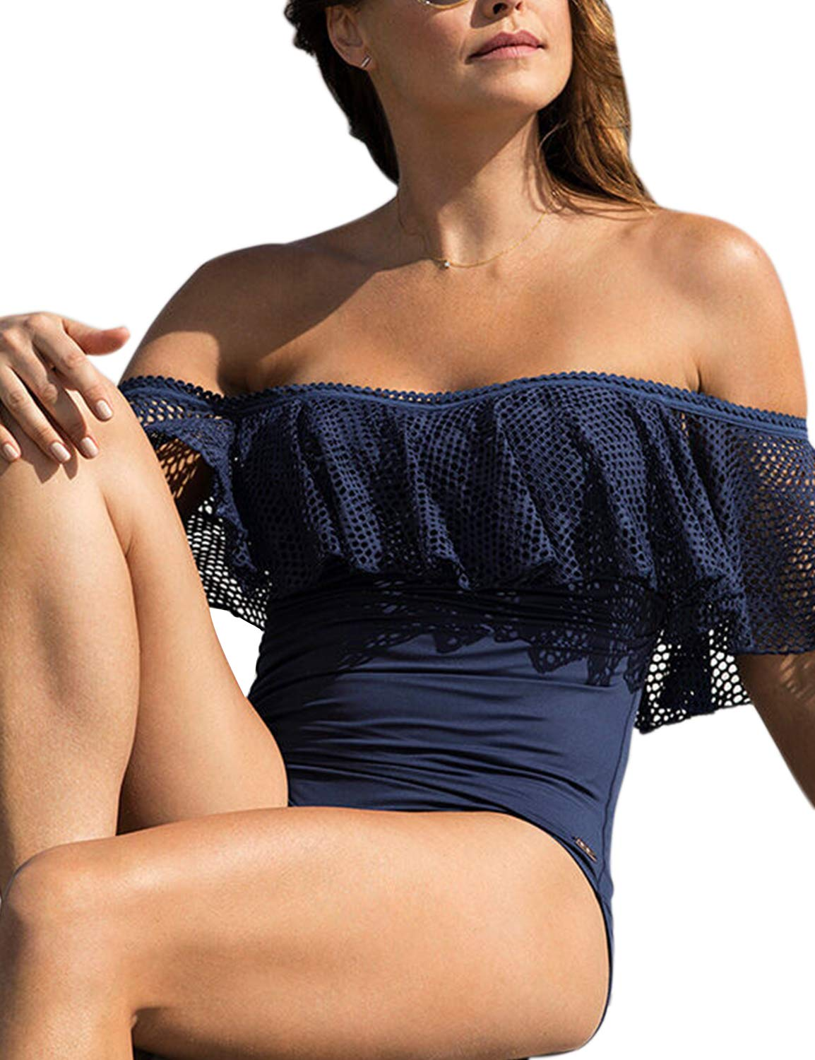 May Women's Ruffle One Piece Swimsuit Off Shoulder Swimwear Tummy Control Ruched High Cut Bathing Suit Blue