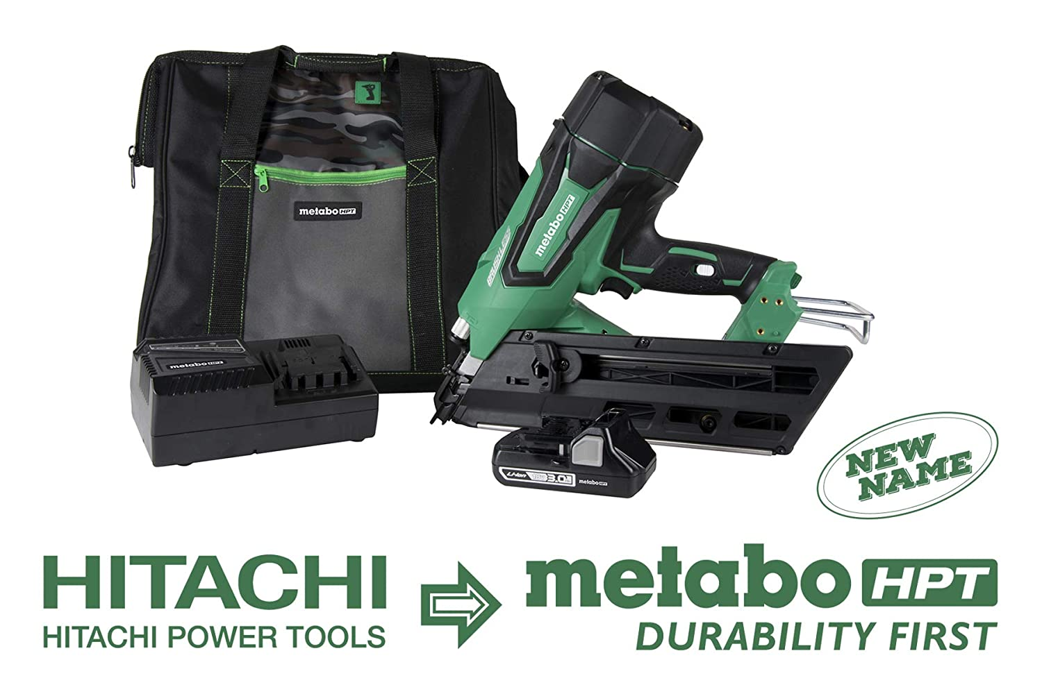 Metabo HPT NR1890DC 18V Cordless Framing Nailer, Brushless Motor, 2 up to 3-1 2 Clipped Offset Round Paper Strip Nails, 30 Degree Magazine, 3.0 Ah Lithium Ion Battery, Lifetime Tool Warranty
