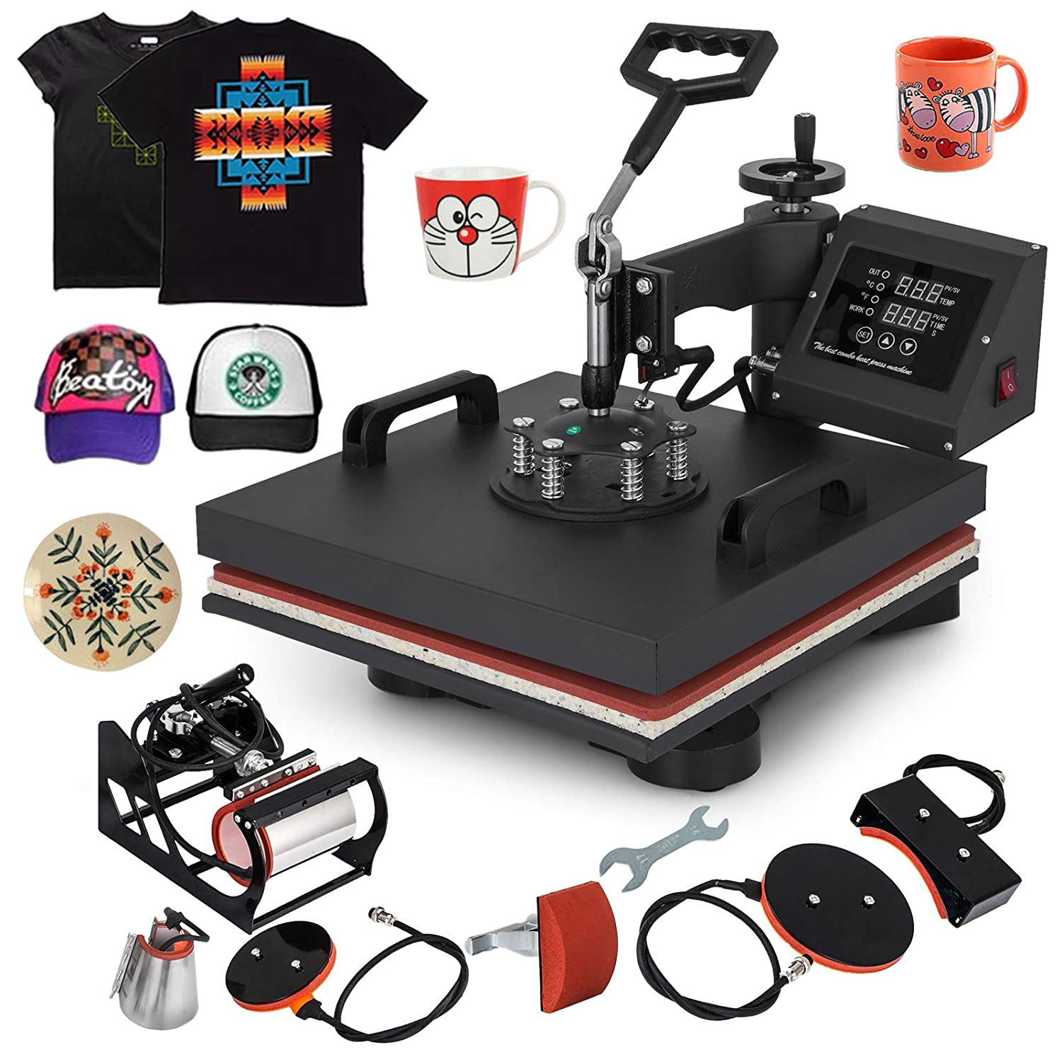 Mophorn Heat Press 15x15 inch 6pcs Heat Press Machine 1050W Multifunctional Sublimation Dual LED Display Heat Press Machine for t Shirts Swing Away Design (15x15Inch, 6IN1 Element)