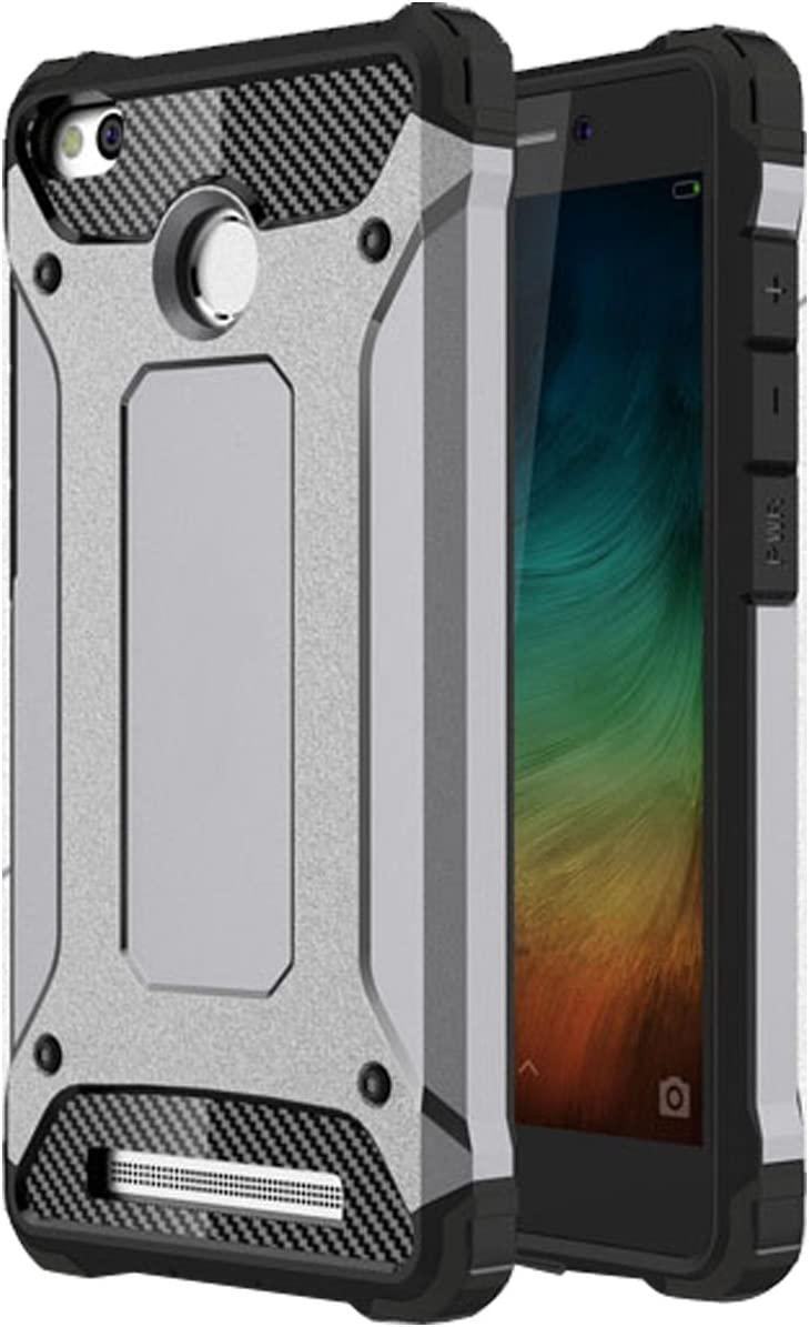 Ycloud Funda para Xiaomi Redmi 3S Doble Capa Híbrida Armor Silicona TPU + Duradero PC Case Shock-Absorción Armadura Gris Carcasa para Xiaomi Redmi 3S / Redmi3 Pro