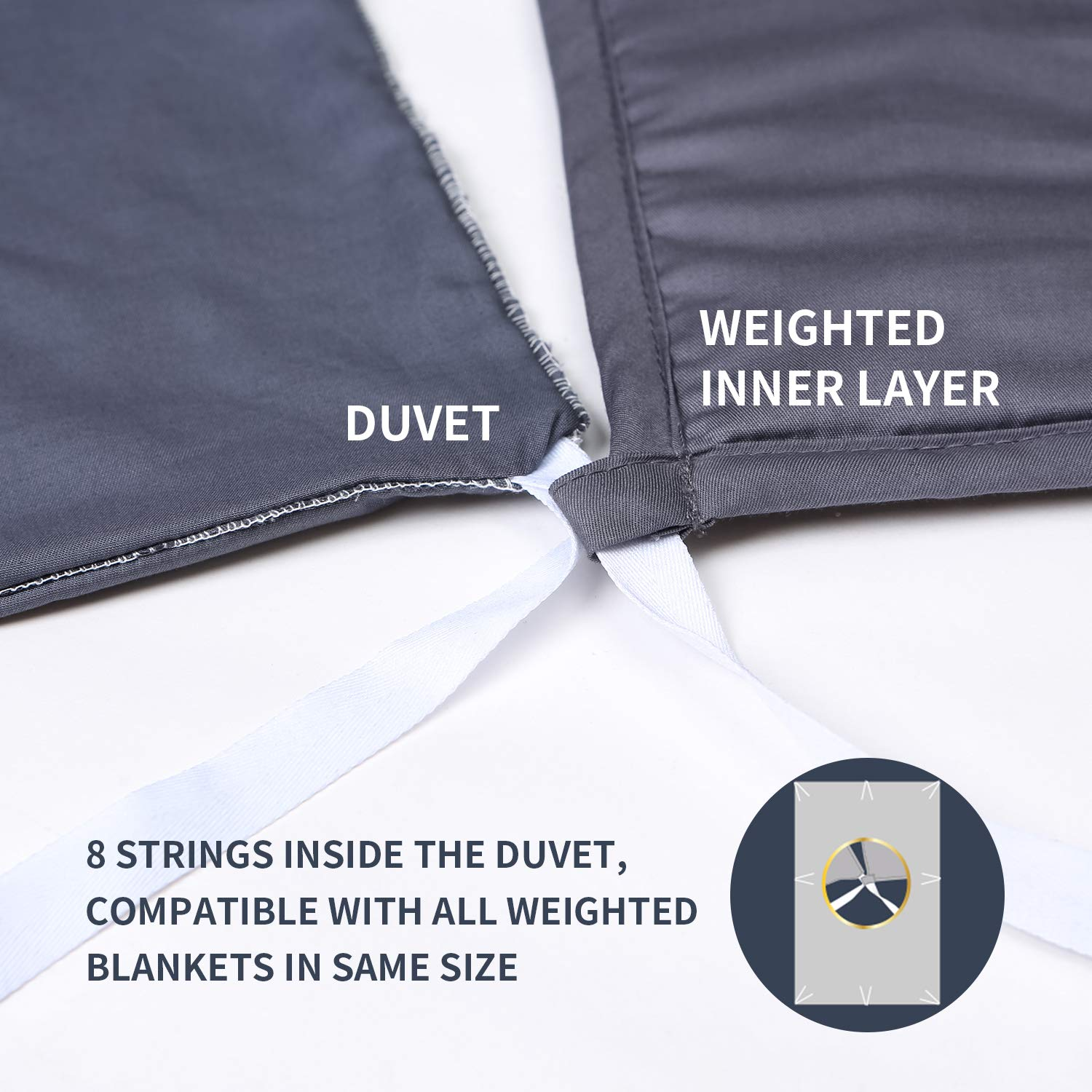 YnM Bamboo Duvet Cover for Weighted Blankets (60''x80'') - Blue Grey Print by YnM (Image #5)