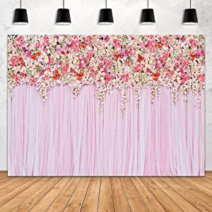 Aperturee 7x5ft Pink Flowers Wall Photography Backdrops Rose Floral Spring Background Baby Shower Birthday Wedding Photo Studio Booth Dessert Table Party Decor Booth Props Banner