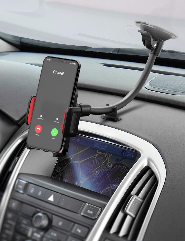 Mpow Soporte De Móvil para Coche Parabrisas/Salpicadero, iPhone Xs/X/8/7/6, Samsung S9/S8 Note9/8 Huawei, Rojo