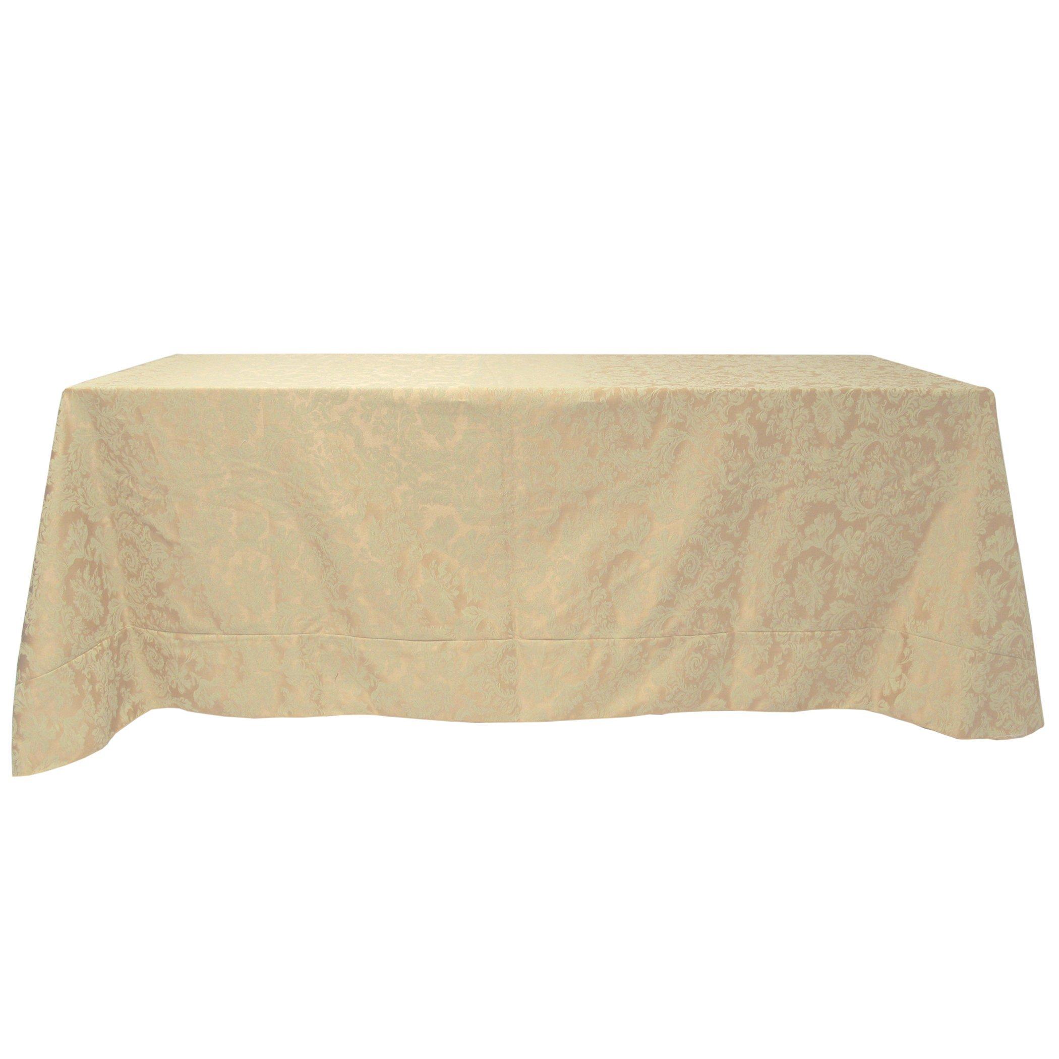 Ultimate Textile Miranda 108 x 156-Inch Rectangular Damask Tablecloth Champagne Ivory Cream