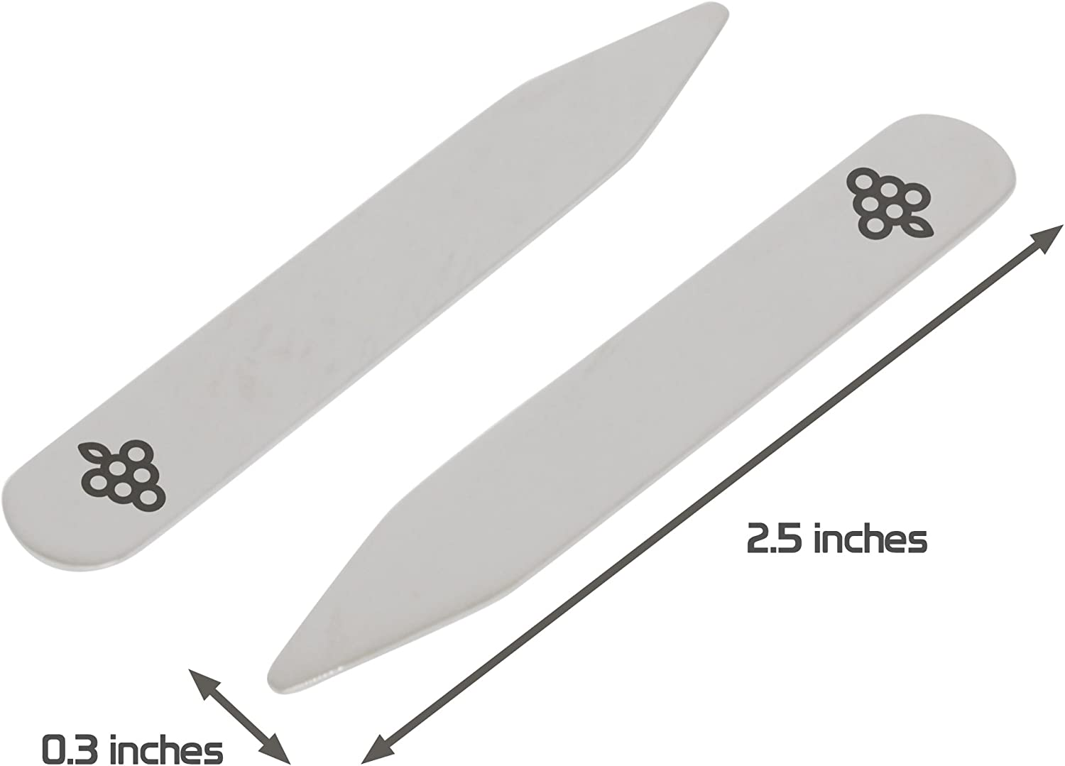 MODERN GOODS SHOP Stainless Steel Collar Stays With Laser Engraved Grapes Design Made In USA 2.5 Inch Metal Collar Stiffeners