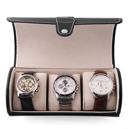 MVPOWER Caja para Relojes Estuche para Guardar Joyerías Soporte de Exhibición de Relojes Pulsera PU Negro (3 Compartimentos)