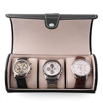 Femor Caja para relojes Estuche para guardar Joyerías Soporte de Exhibición de Relojes Pulsera PU Negro (3 Compartimentos): Amazon.es: Hogar