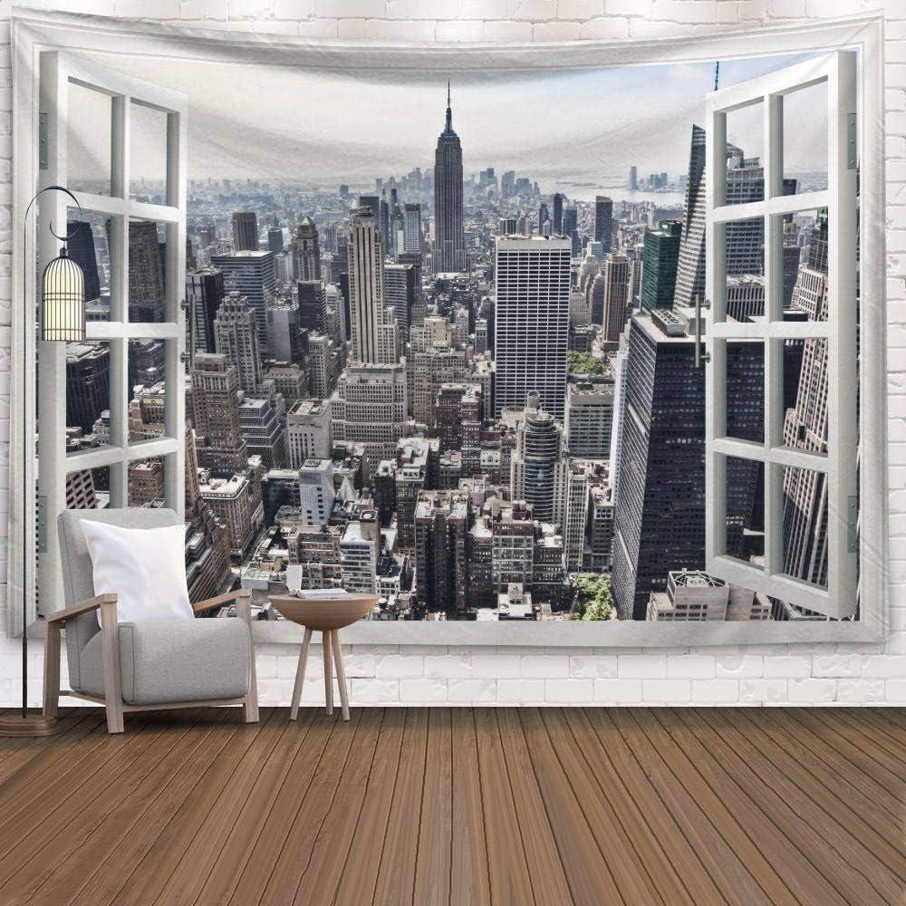 Trippy Boh/ème Hippie Psych/éd/élique Wall Hanging Tapestry New York City Les B/âtiments PatTheHook Tapisserie Murales Grande Structure pour Art Decor Salon Chambre /À Coucher,150/×130Cm