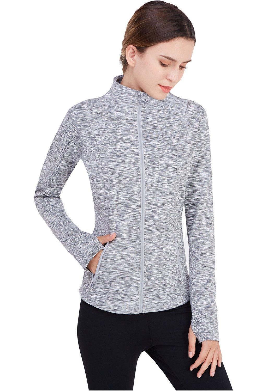 Matymats Women's Active Full-Zip Track Jacket Yoga Running Athletic Coat With Thumb Holes,X-Large,Heather Grey