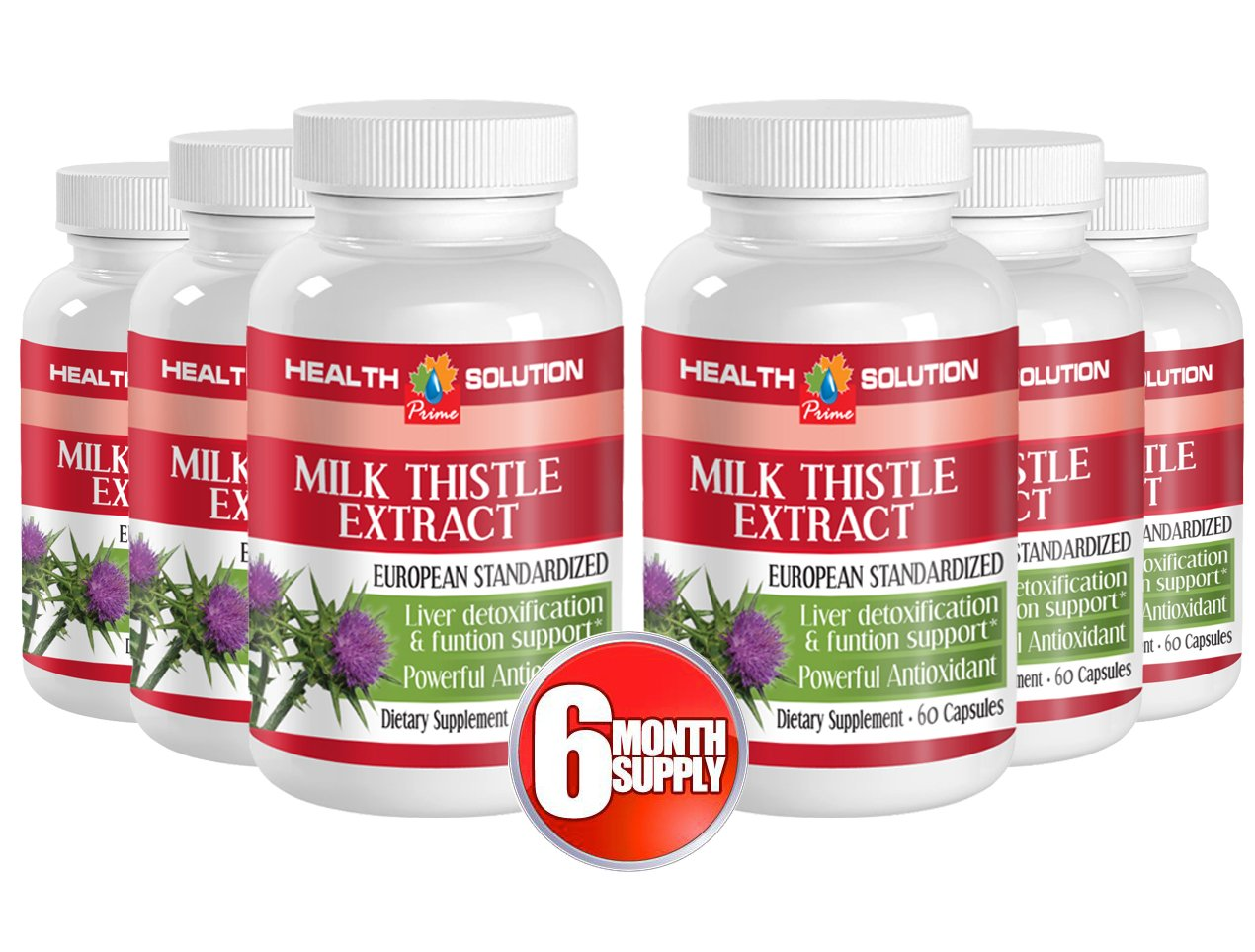 Milk thistle with artichoke and tumeric - MILK THISTLE SEED EXTRACT - promote intestinal health (6 Bottles)