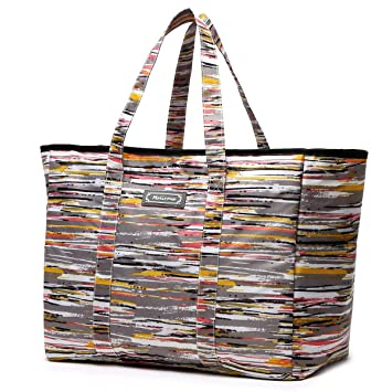 1c613cbfd7bf Malirona Polyester Large Tote Bag, Folds Flat, Water Resistant, Sturdy  Base, Beach bag, shopping bag, outdoor storage bag (Hawthorn stripes)