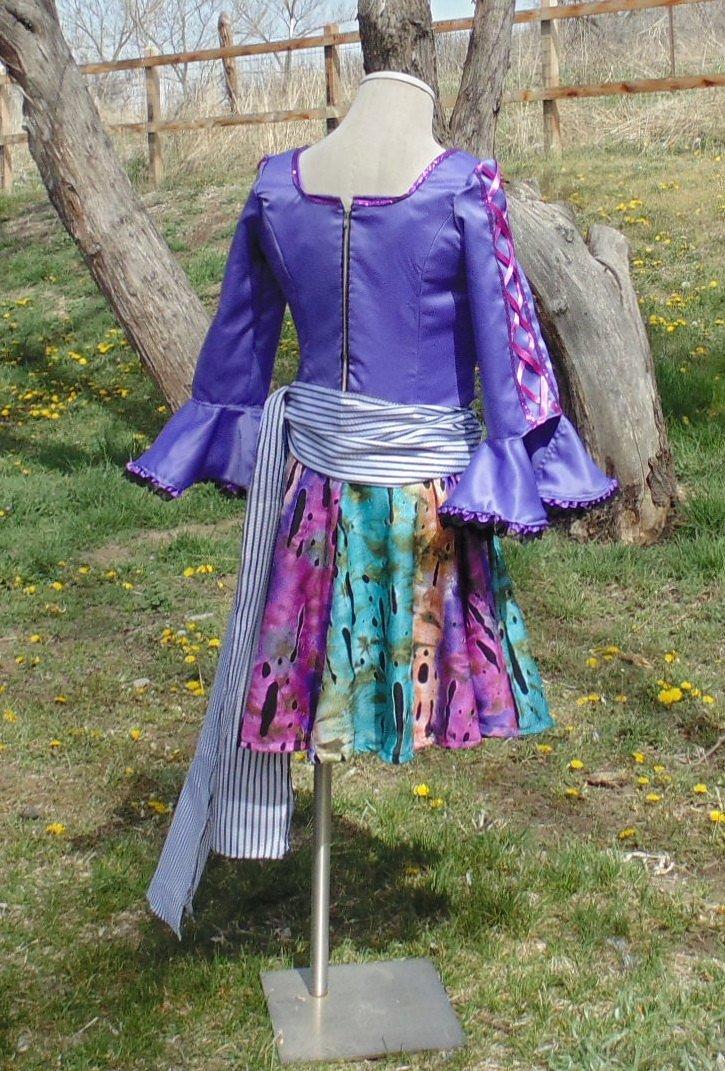 Flirty Pirate Purple Satin goth halloween dance girls 12-14 complete handmade