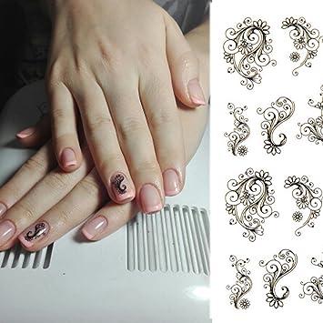 Amazon Com 1 Set Black Vine Flower Nail Art Sticker Diy Water