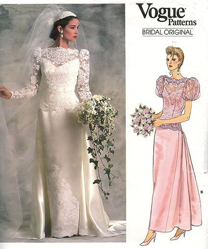 Amazon Com Vogue Bridal Vintage 1980s Sewing Pattern 1829 Wedding
