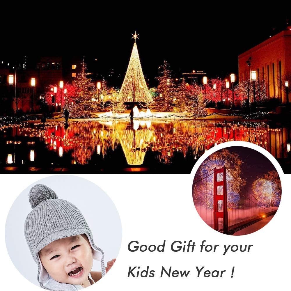 Askyorte Toddler Kids Winter Ear Flap Hat Boy Warm Pompom Knit Hats Caps 2-4 Years