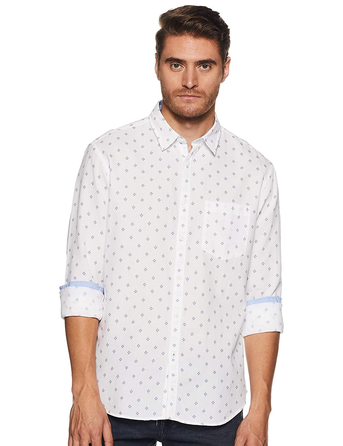 723624ec732 Indian Terrain Men s Geometric Print Slim fit Casual Shirt  Amazon.in   Clothing   Accessories