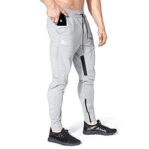 BROKIG ジョガーパンツ メンズ トレーニングパンツ スウェットパンツ ジッパー付き ストライプ スリム メッシュ 通気性 ストレッチ (M, グレー)
