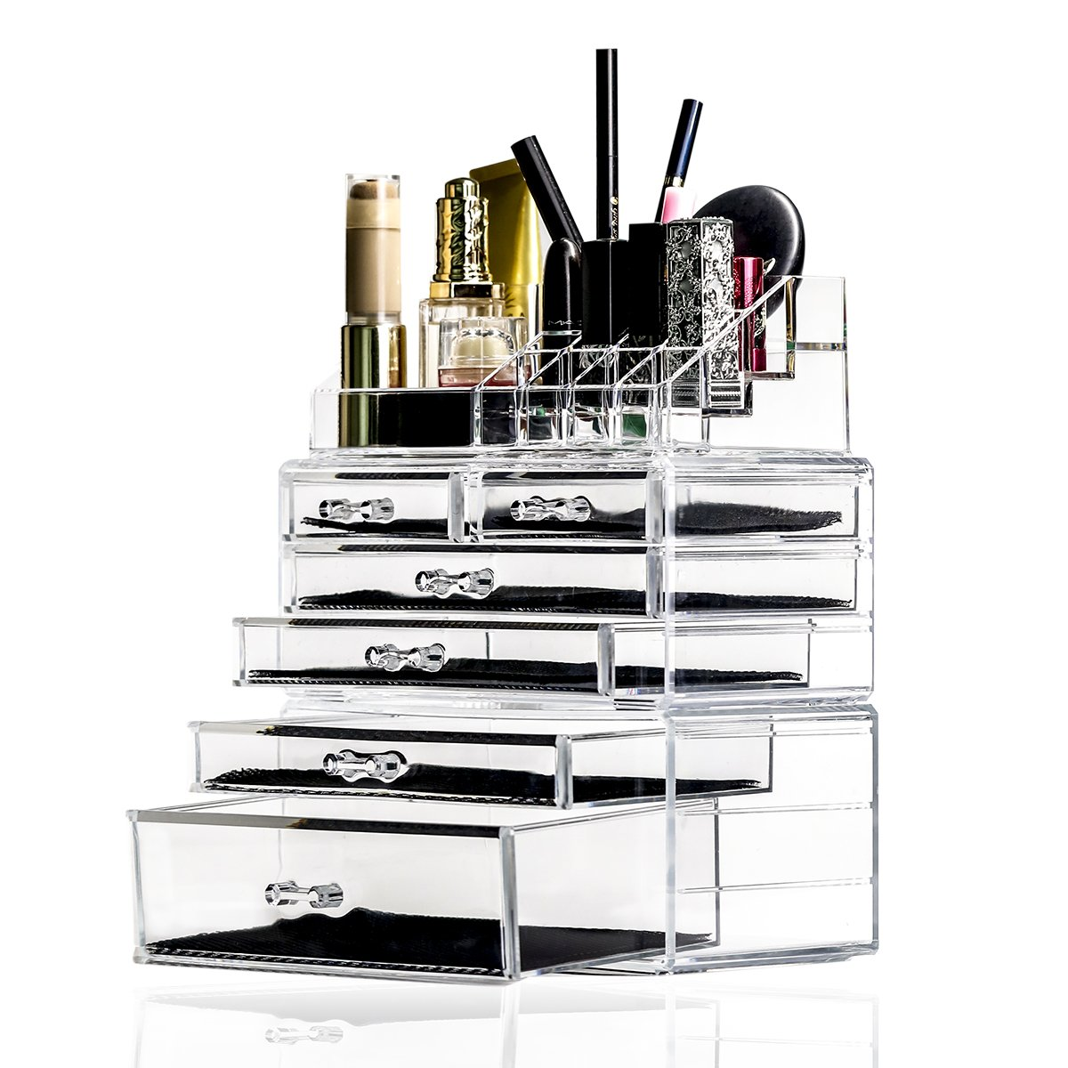 Vinkoe Kitchen Makeup Organizer,Acrylic Cosmetic Storage Drawers and Jewelry Display Box,3 Pieces