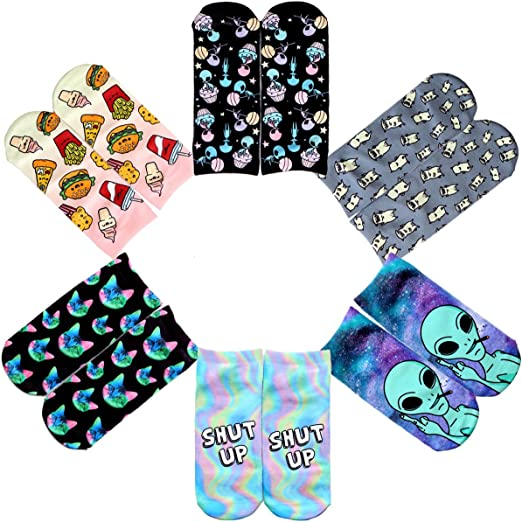 6 x Girls Unicorn Socks Children Kids Design Novelty Fun Gift Cotton Rich