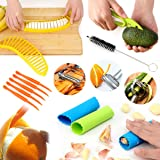 Fruit Slicer Peeler 11pcs Set BY AUSPA KT02 Value Pack: Orange Citrus Lemon Garlic Cantaloupe Vegetable Peeler, Avocado Banana Slicer, Kitchen Tool