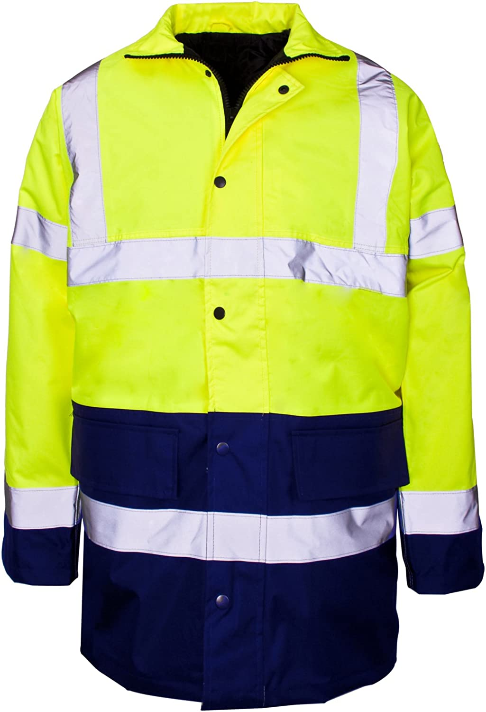 MyShoeStore Hi Vis Viz Parka Jacket High Visibility Workwear Safety Security Concealed Hood Fluorescent Flashing Hooded Padded /¾ Length Waterproof Work Coat Top