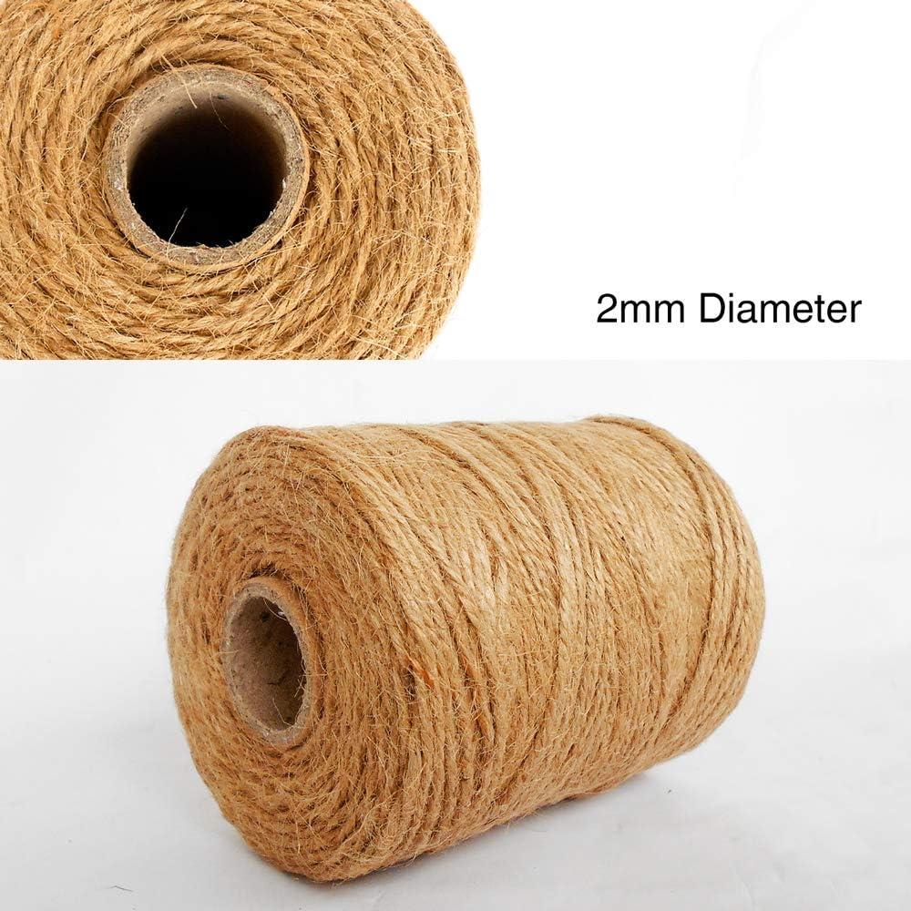 333 pies de cuerda de yute 3 capas de 2 mm de grosor cuerda de yute para decoraci/ón Jard/ín Florister/ía DIY Arts Bundling Crafts /& Wrapping Paquete de 3 rollos ANSIO Yute Twine Marr/ón