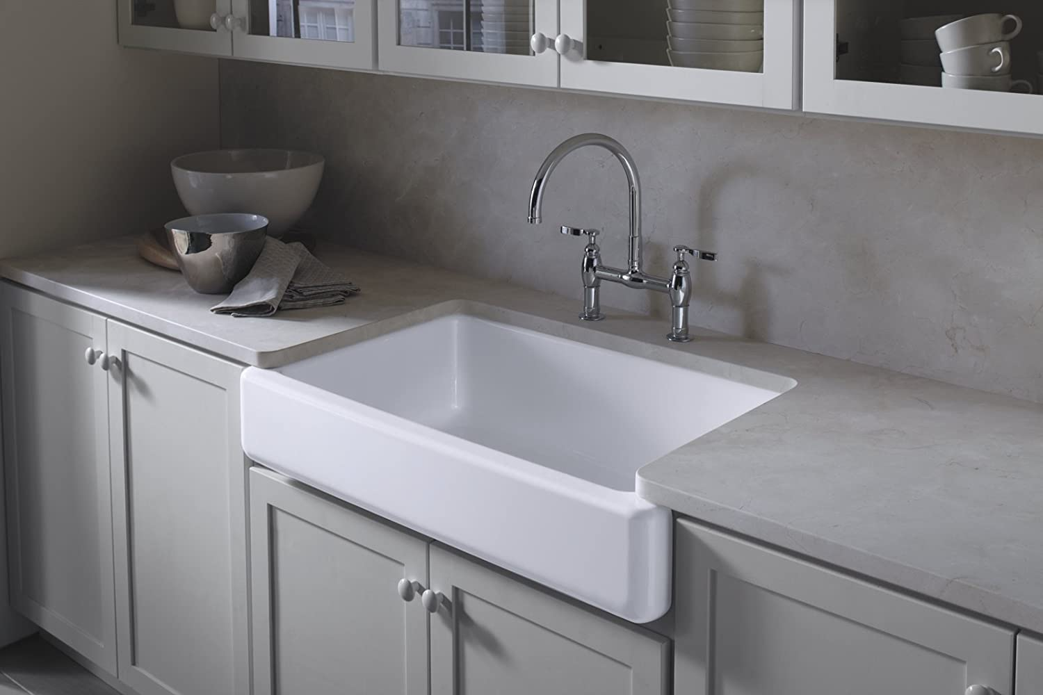 Kohler stainless steel farmhouse sink - Kohler K 6488 0 Whitehaven Self Trimming Apron Front Single Basin Sink With Short Apron White Single Bowl Sinks Amazon Com