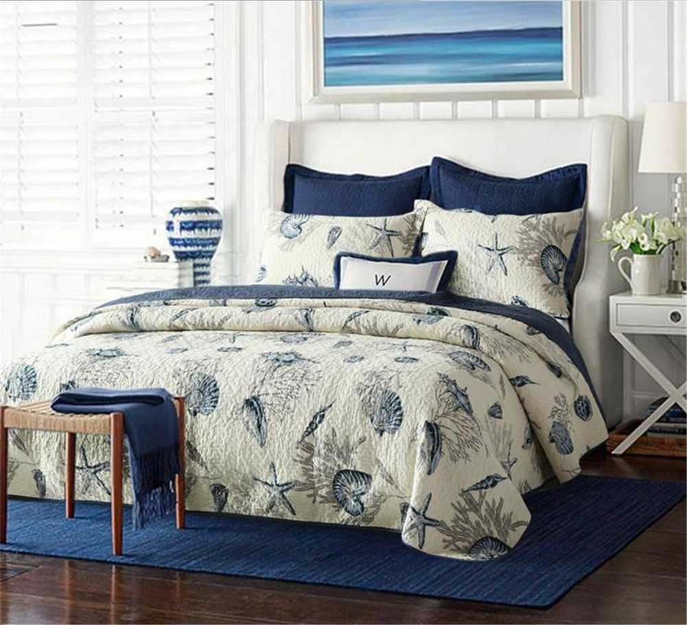 Blue Shell Tread Design 3 Piece Comforter Quilt Bedspreads Sets Queen Cotton White & Blue