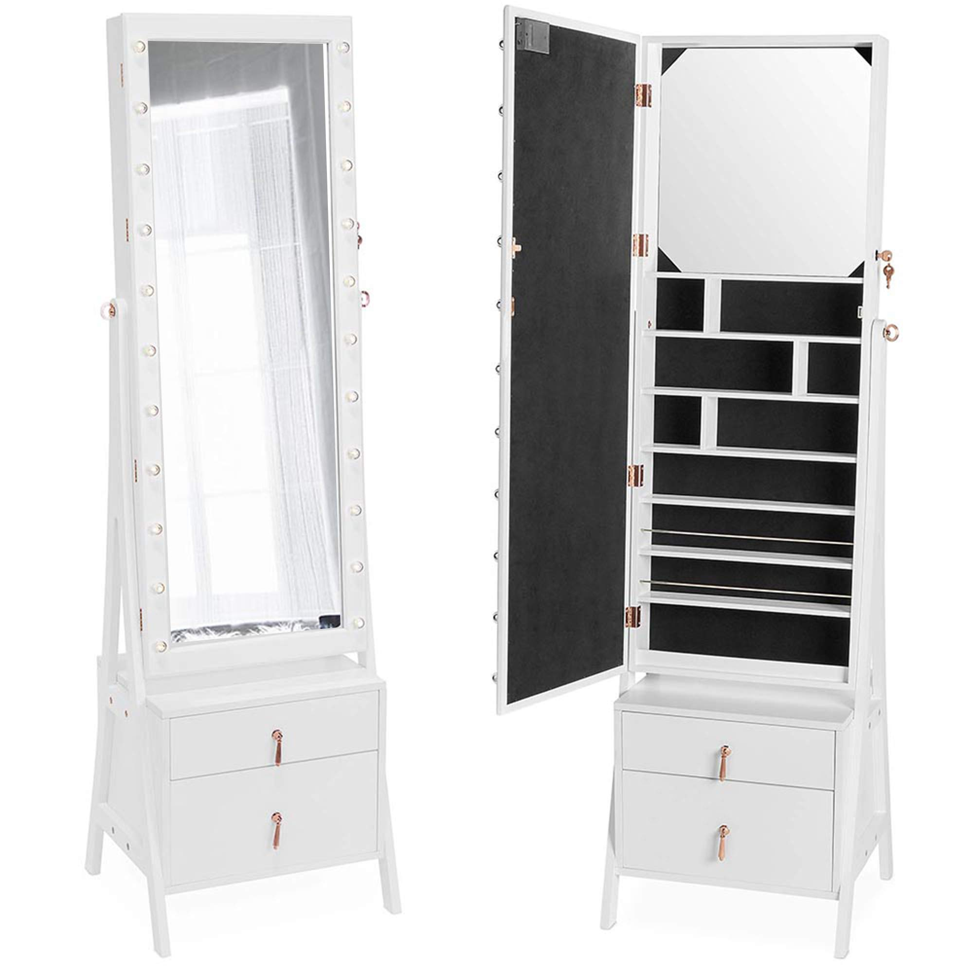 Beautify Lockable Floor Standing Make Up and Jewelry Cabinet Organizer Armoire Storage with 2 Drawer, Inside Mirror & LED Warm Lights (White Illuminated)