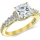 14K White Gold 1.59 CTW Princess Cut Designer Four Prong Pave Set Round Diamonds Engagement Ring, D-E Color SI1-SI2…