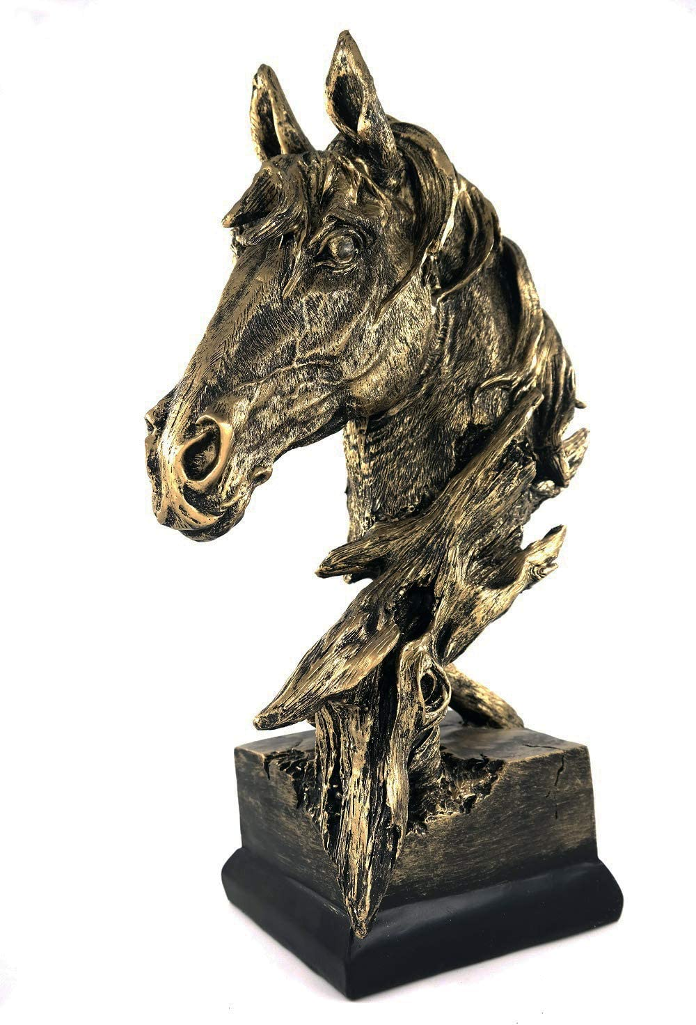 """TIPPOMG 15.35"""" Large(Antique Gold) Horse Head Statue Handmade Bust Horse Collection Animal Decoration Sculpture Home Office Wine Cabinet Bookshelf Deco Gift (Large, Retro Gold)"""