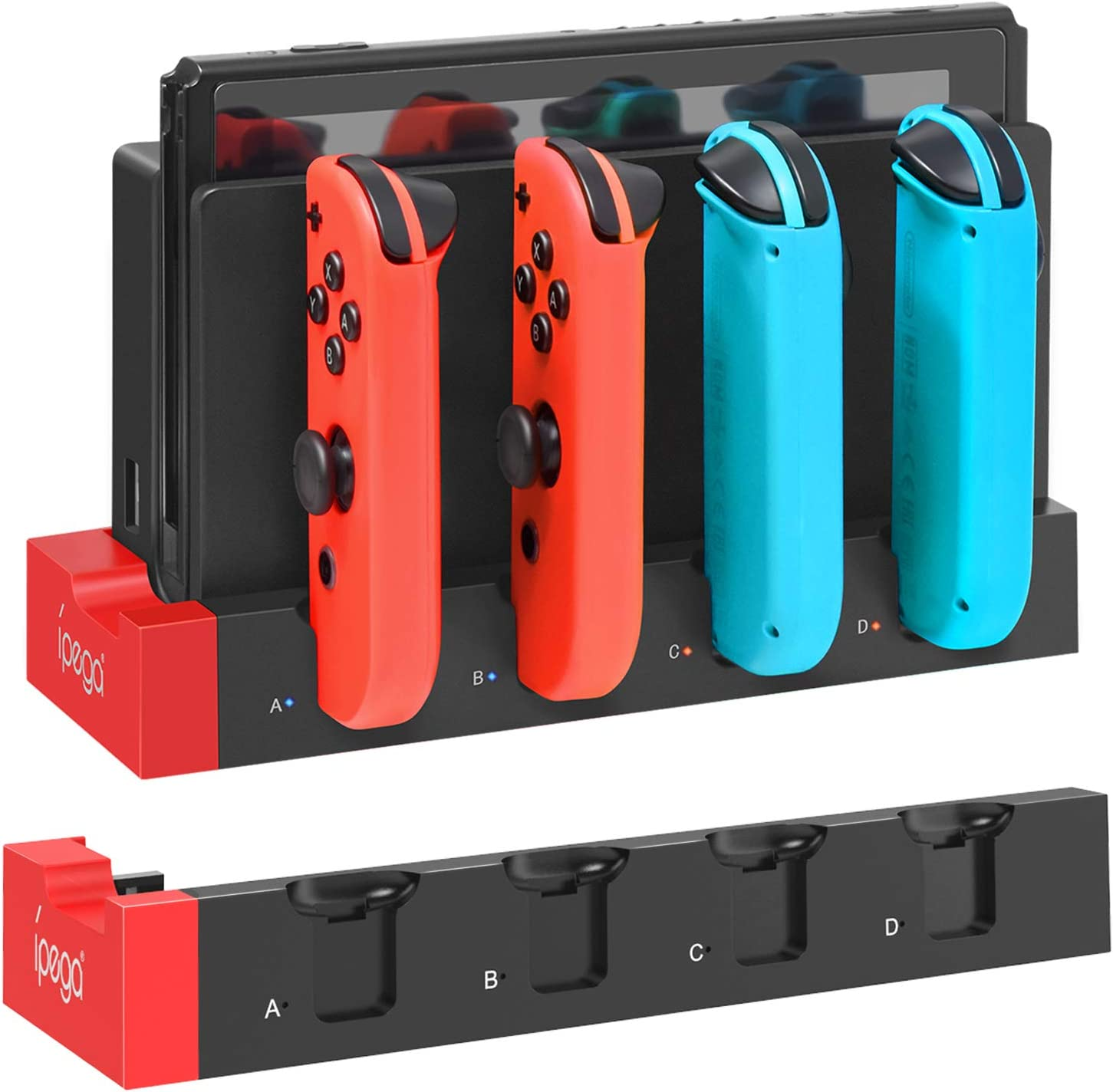 Charging Dock for Nintendo Switch Joy-Cons Controllers, [Add to Switch Dock] Portable Desktop Charging Station Stand with Extended USB Port - Black/Red