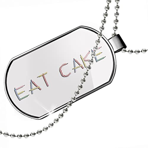 NEONBLOND Dogtag Eat Cake Birthday Party Candles Dog Tags Necklace