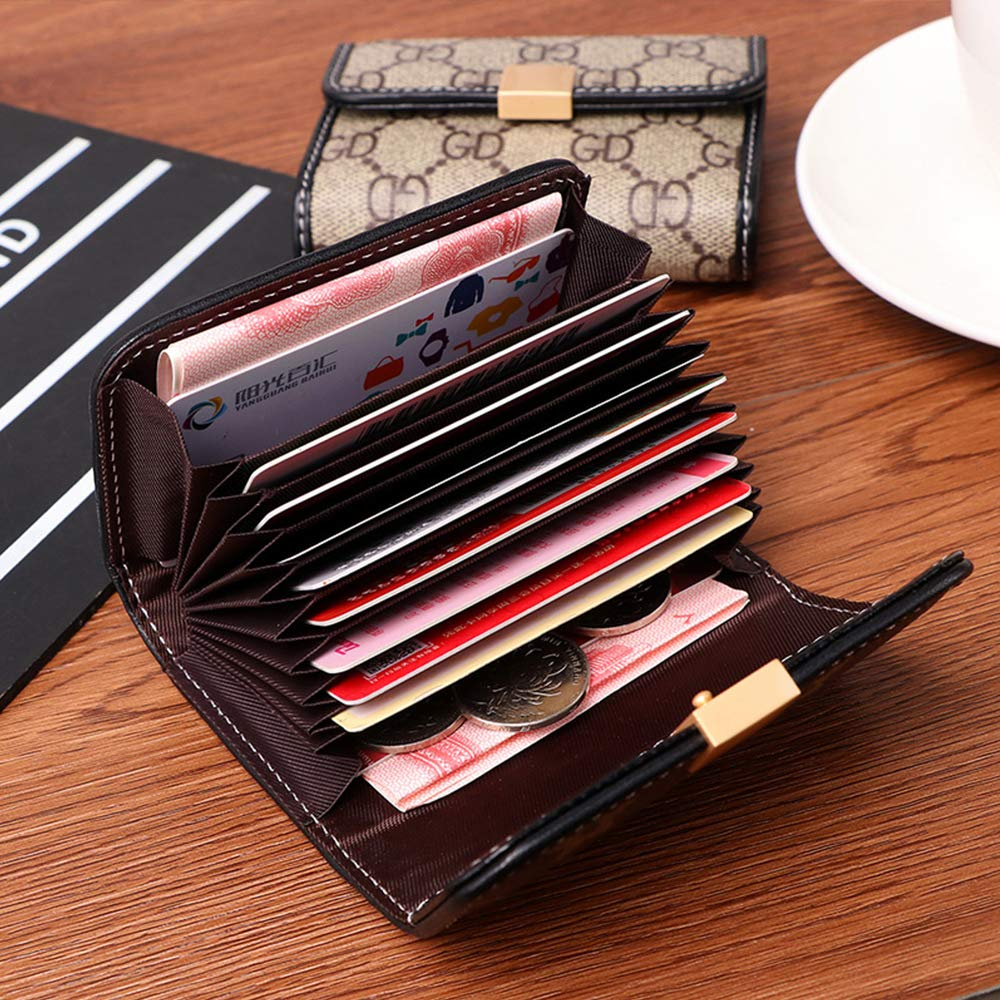 Women Designer Wallet Rfid Blocking Credit Card Holder Wallets Pu Leather Small Accordion Ladies Purse - Brown by Guncore (Image #4)