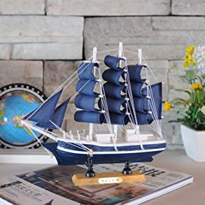 LoveinDIY Handmade Mediterranean Style Statue Wooden Sailboat Table Decor Model Boat - C