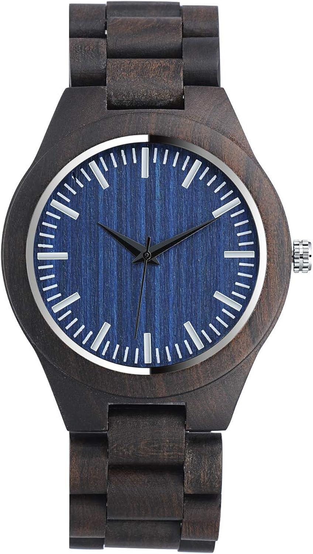 Infinito U-Reloj de Pulsera de Madera para Hombres y Mujeres, Natural Nogal Negro Movimiento de Cuarzo Japonés con Correa Ajustable Artesanía Artesanal Madera Relojes